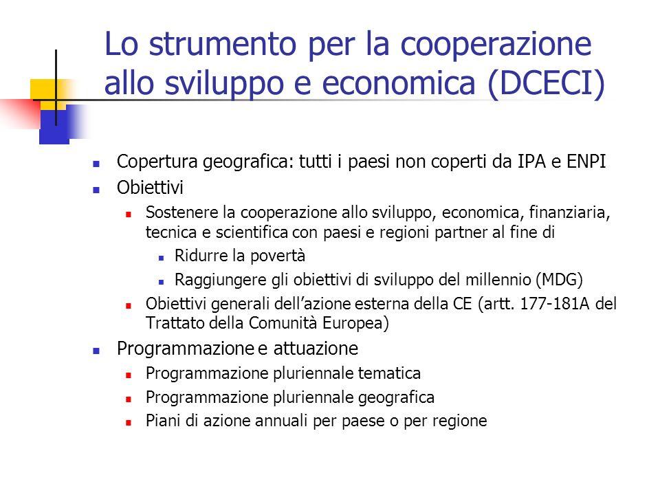 Lo strumento per la cooperazione allo sviluppo e economica (DCECI) Copertura geografica: tutti i paesi non coperti da IPA e ENPI Obiettivi Sostenere l
