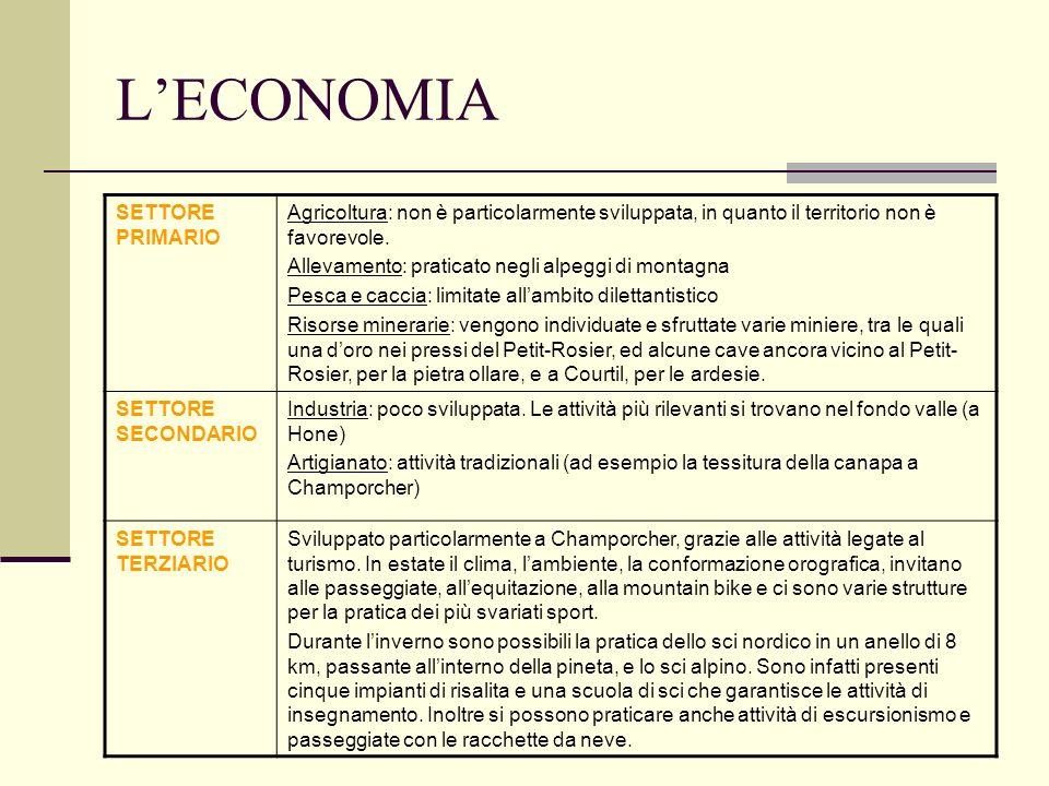 LECONOMIA SETTORE PRIMARIO Agricoltura: non è particolarmente sviluppata, in quanto il territorio non è favorevole. Allevamento: praticato negli alpeg