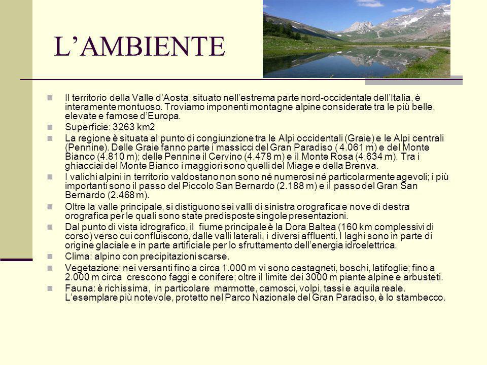 LAMBIENTE Il territorio della Valle dAosta, situato nellestrema parte nord-occidentale dellItalia, è interamente montuoso. Troviamo imponenti montagne