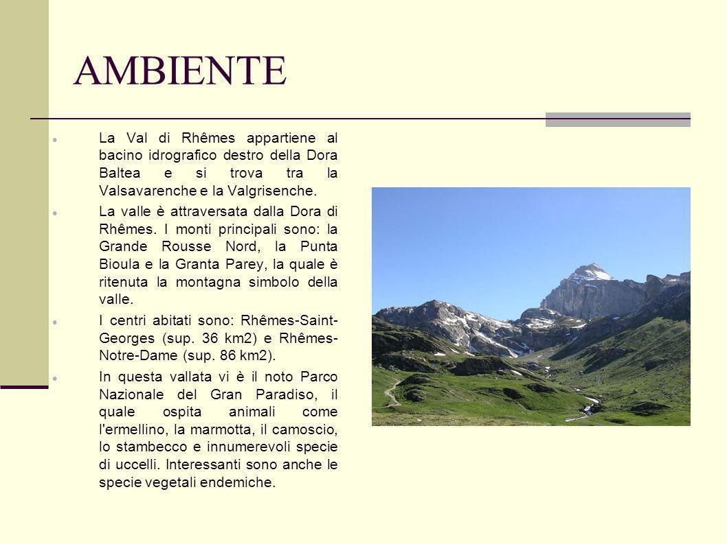 AMBIENTE La Val di Rhêmes appartiene al bacino idrografico destro della Dora Baltea e si trova tra la Valsavarenche e la Valgrisenche. La valle è attr