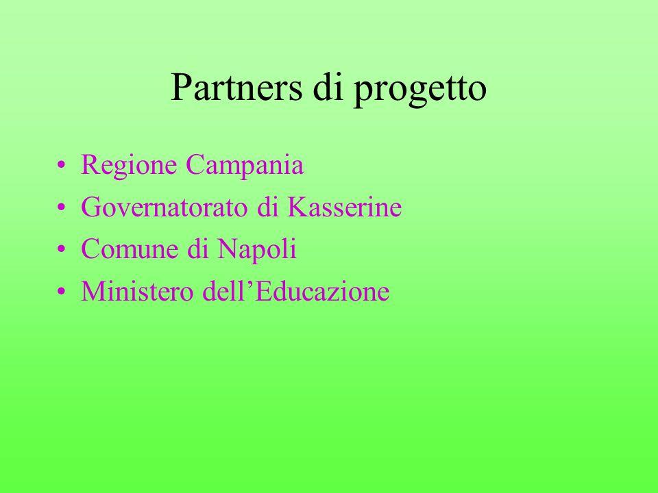 Partners di progetto Regione Campania Governatorato di Kasserine Comune di Napoli Ministero dellEducazione