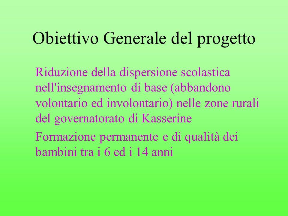 Obiettivo Generale del progetto Riduzione della dispersione scolastica nell'insegnamento di base (abbandono volontario ed involontario) nelle zone rur