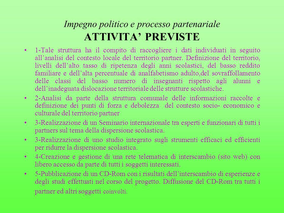 Impegno politico e processo partenariale ATTIVITA PREVISTE 1-Tale struttura ha il compito di raccogliere i dati individuati in seguito allanalisi del