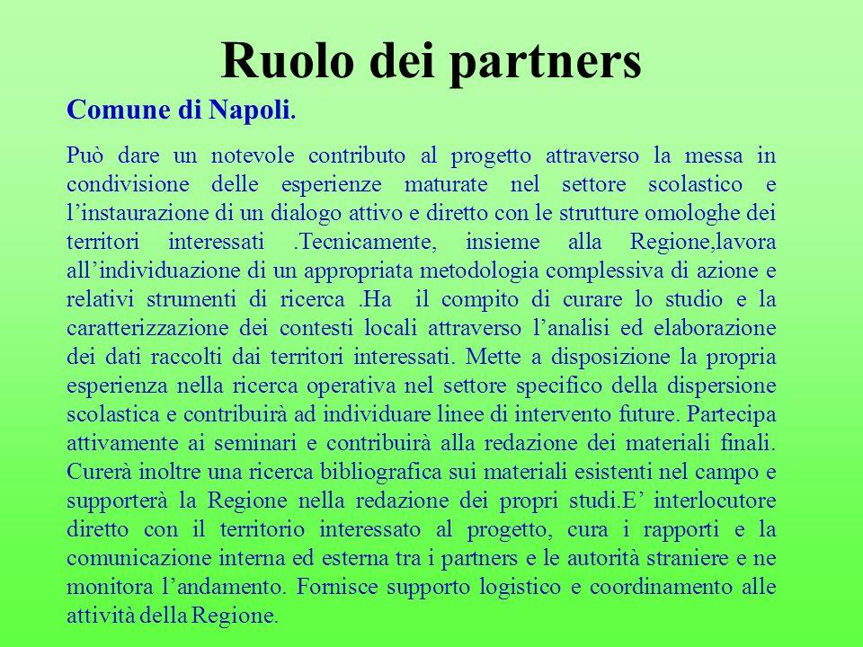Ruolo dei partners Comune di Napoli. Può dare un notevole contributo al progetto attraverso la messa in condivisione delle esperienze maturate nel set