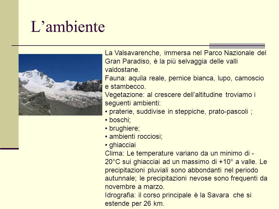 Lambiente La Valsavarenche, immersa nel Parco Nazionale del Gran Paradiso, è la più selvaggia delle valli valdostane. Fauna: aquila reale, pernice bia