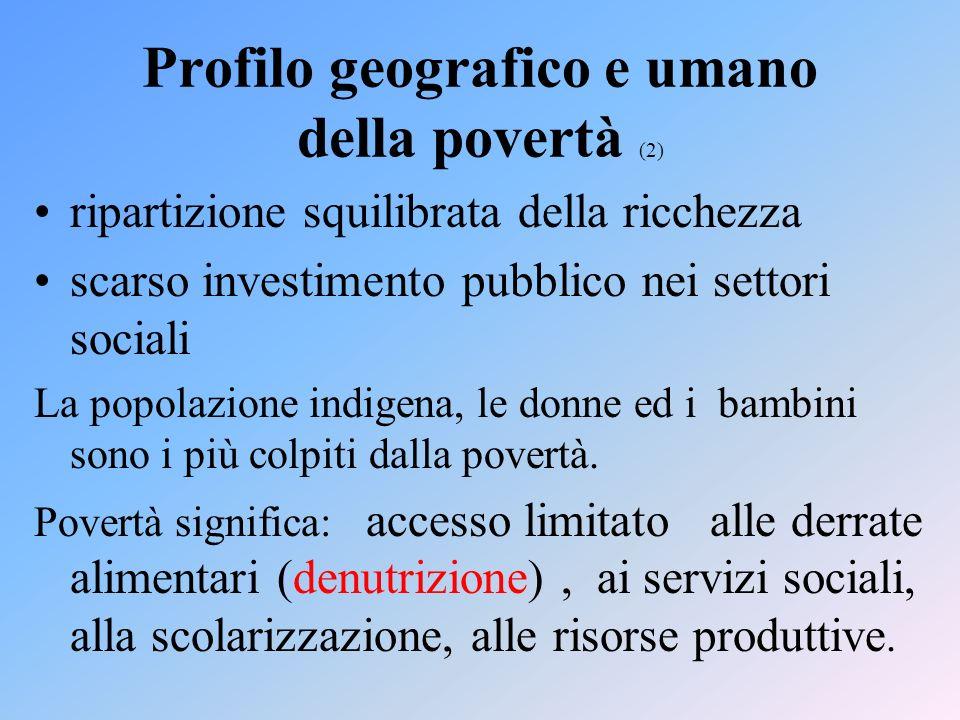 Profilo geografico e umano della povertà (2) ripartizione squilibrata della ricchezza scarso investimento pubblico nei settori sociali La popolazione indigena, le donne ed i bambini sono i più colpiti dalla povertà.