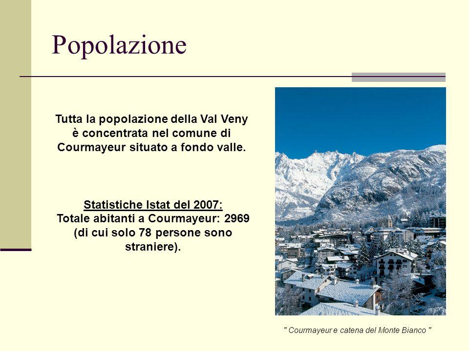 Popolazione Tutta la popolazione della Val Veny è concentrata nel comune di Courmayeur situato a fondo valle.