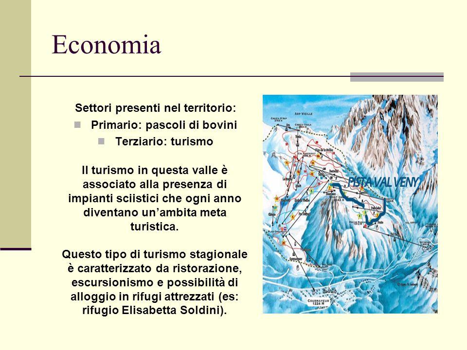 Economia Settori presenti nel territorio: Primario: pascoli di bovini Terziario: turismo Il turismo in questa valle è associato alla presenza di impianti sciistici che ogni anno diventano unambita meta turistica.