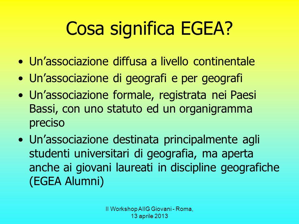 II Workshop AIIG Giovani - Roma, 13 aprile 2013 Geografie in EGEA In EGEA confluiscono studenti di discipline che in Italia non sono associate alla geografia tradizionale.