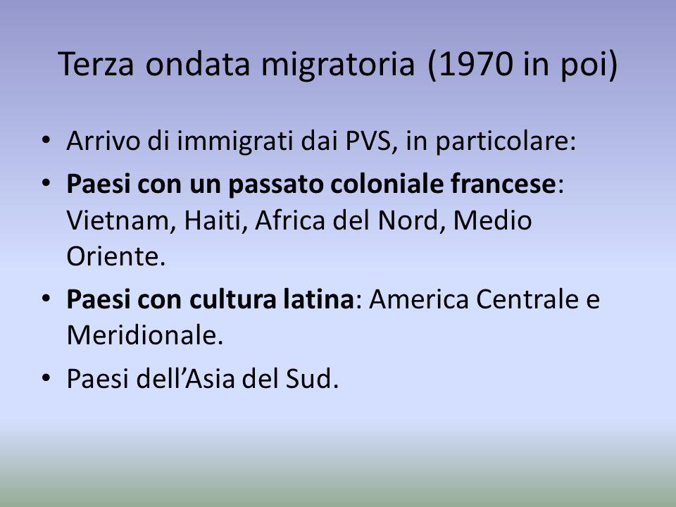 Terza ondata migratoria (1970 in poi) Arrivo di immigrati dai PVS, in particolare: Paesi con un passato coloniale francese: Vietnam, Haiti, Africa del Nord, Medio Oriente.