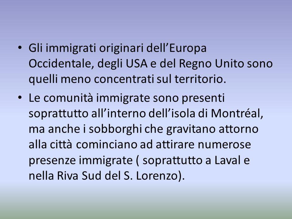 Gli immigrati originari dellEuropa Occidentale, degli USA e del Regno Unito sono quelli meno concentrati sul territorio.