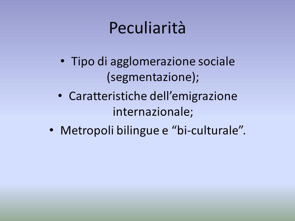 Peculiarità Tipo di agglomerazione sociale (segmentazione); Caratteristiche dellemigrazione internazionale; Metropoli bilingue e bi-culturale.