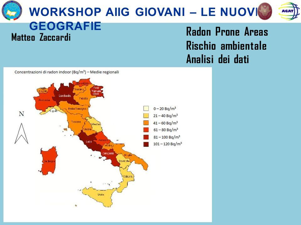 WORKSHOP AIIG GIOVANI – LE NUOVE GEOGRAFIE Matteo Zaccardi Radon Prone Areas Rischio ambientale Analisi dei dati
