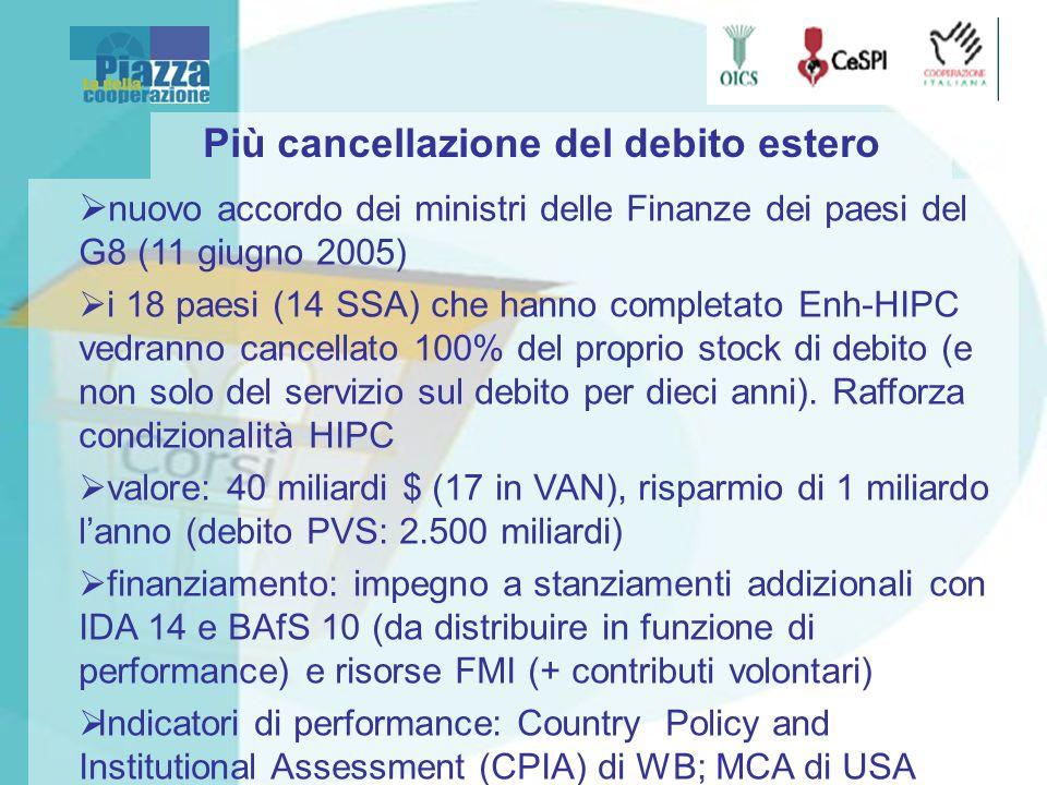 Più cancellazione del debito estero nuovo accordo dei ministri delle Finanze dei paesi del G8 (11 giugno 2005) i 18 paesi (14 SSA) che hanno completato Enh-HIPC vedranno cancellato 100% del proprio stock di debito (e non solo del servizio sul debito per dieci anni).