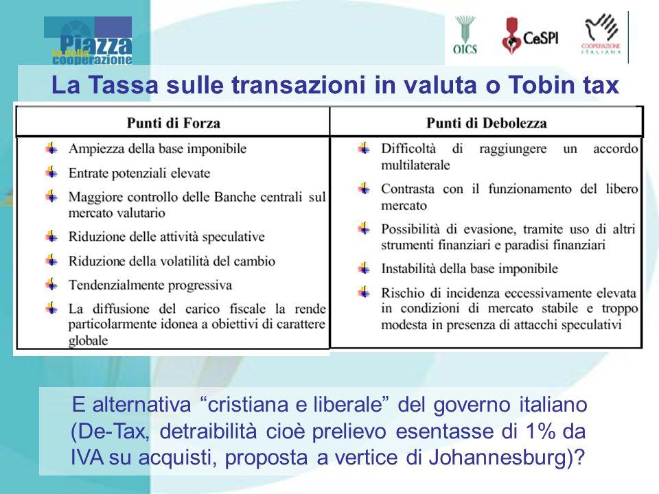 La Tassa sulle transazioni in valuta o Tobin tax E alternativa cristiana e liberale del governo italiano (De-Tax, detraibilità cioè prelievo esentasse di 1% da IVA su acquisti, proposta a vertice di Johannesburg)