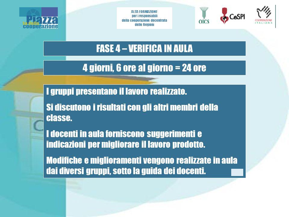 ALTA FORMAZIONE per i responsabili della cooperazione decentrata delle Regioni FASE 4 – VERIFICA IN AULA 4 giorni, 6 ore al giorno = 24 ore I gruppi presentano il lavoro realizzato.