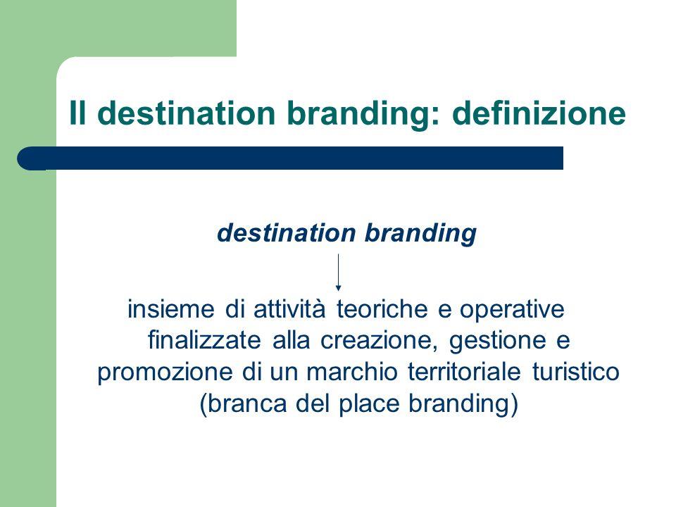 Il destination branding: definizione destination branding insieme di attività teoriche e operative finalizzate alla creazione, gestione e promozione di un marchio territoriale turistico (branca del place branding)