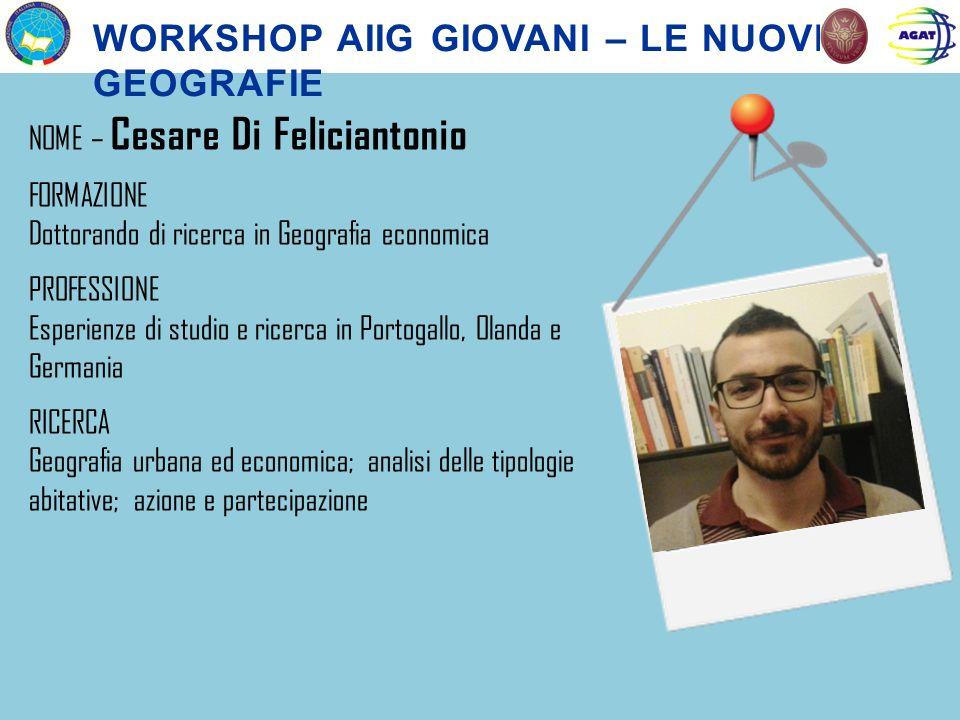 NOME – Cesare Di Feliciantonio FORMAZIONE Dottorando di ricerca in Geografia economica PROFESSIONE Esperienze di studio e ricerca in Portogallo, Oland