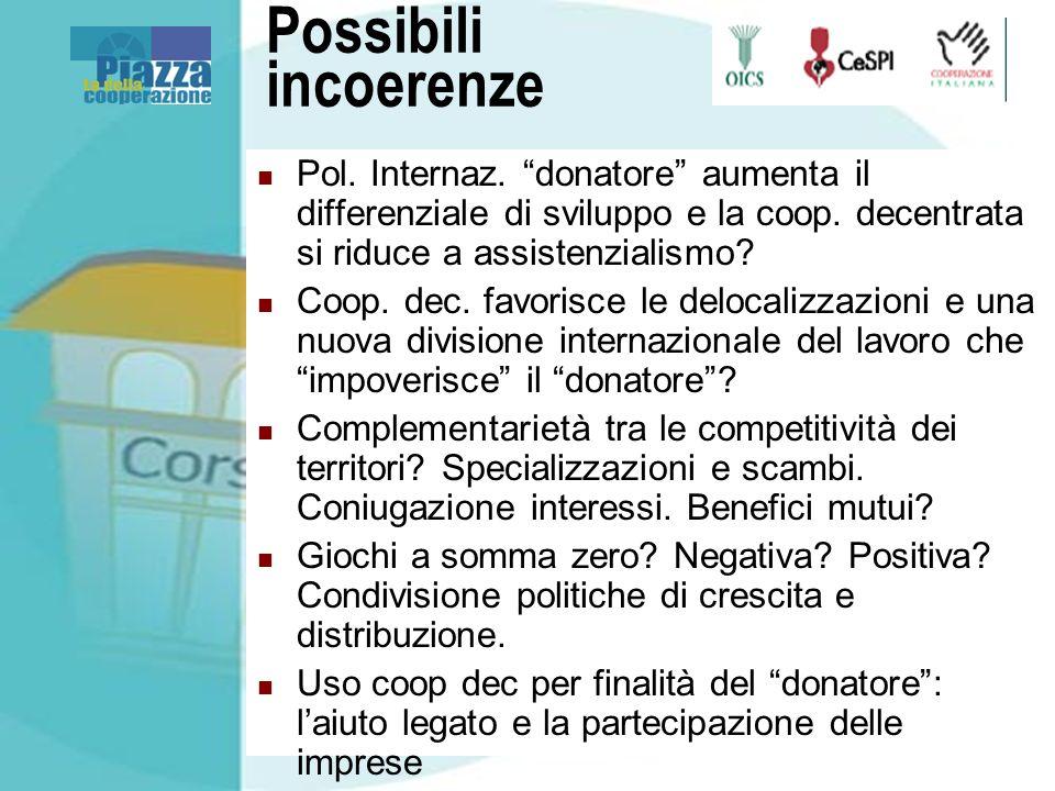Possibili incoerenze Pol. Internaz. donatore aumenta il differenziale di sviluppo e la coop.