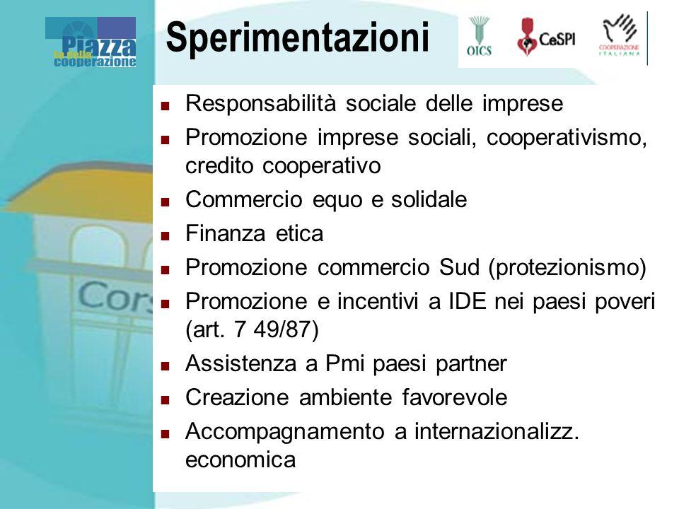 Sperimentazioni Responsabilità sociale delle imprese Promozione imprese sociali, cooperativismo, credito cooperativo Commercio equo e solidale Finanza