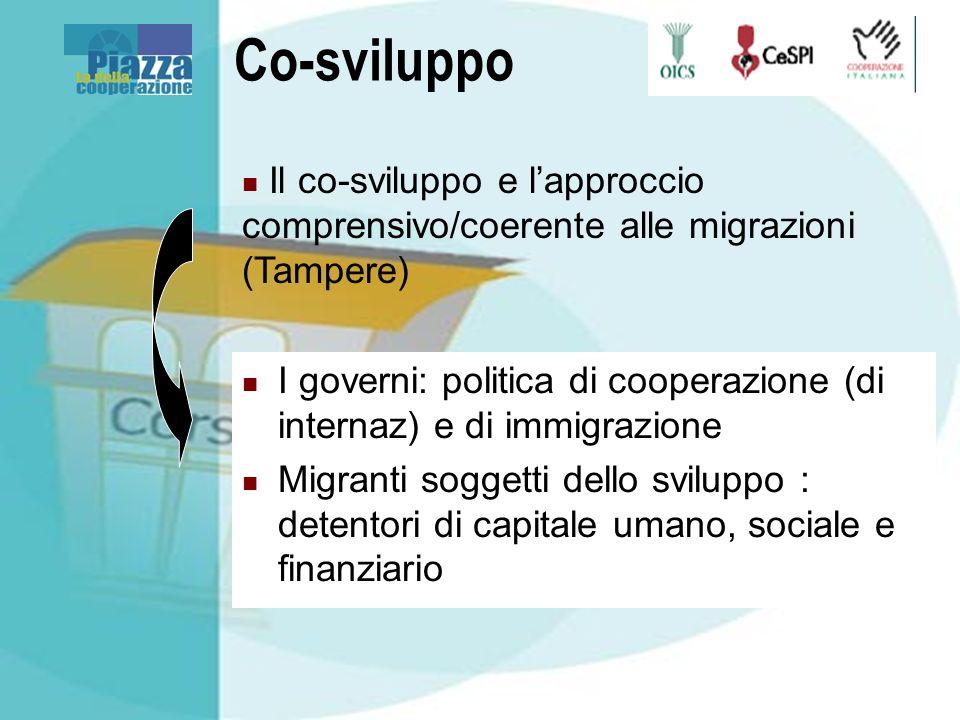 Co-sviluppo I governi: politica di cooperazione (di internaz) e di immigrazione Migranti soggetti dello sviluppo : detentori di capitale umano, social