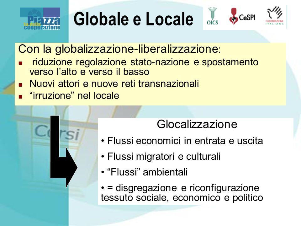 Globale e Locale Con la globalizzazione-liberalizzazione : riduzione regolazione stato-nazione e spostamento verso lalto e verso il basso Nuovi attori