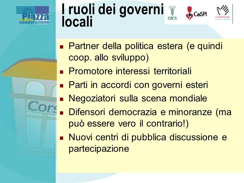 I ruoli dei governi locali Partner della politica estera (e quindi coop. allo sviluppo) Promotore interessi territoriali Parti in accordi con governi
