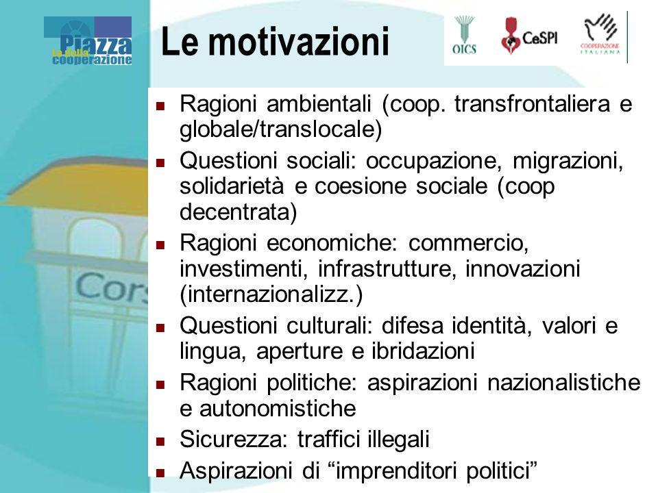 Le motivazioni Ragioni ambientali (coop. transfrontaliera e globale/translocale) Questioni sociali: occupazione, migrazioni, solidarietà e coesione so