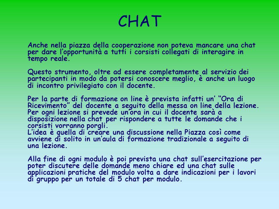 CHAT Anche nella piazza della cooperazione non poteva mancare una chat per dare lopportunità a tutti i corsisti collegati di interagire in tempo reale.