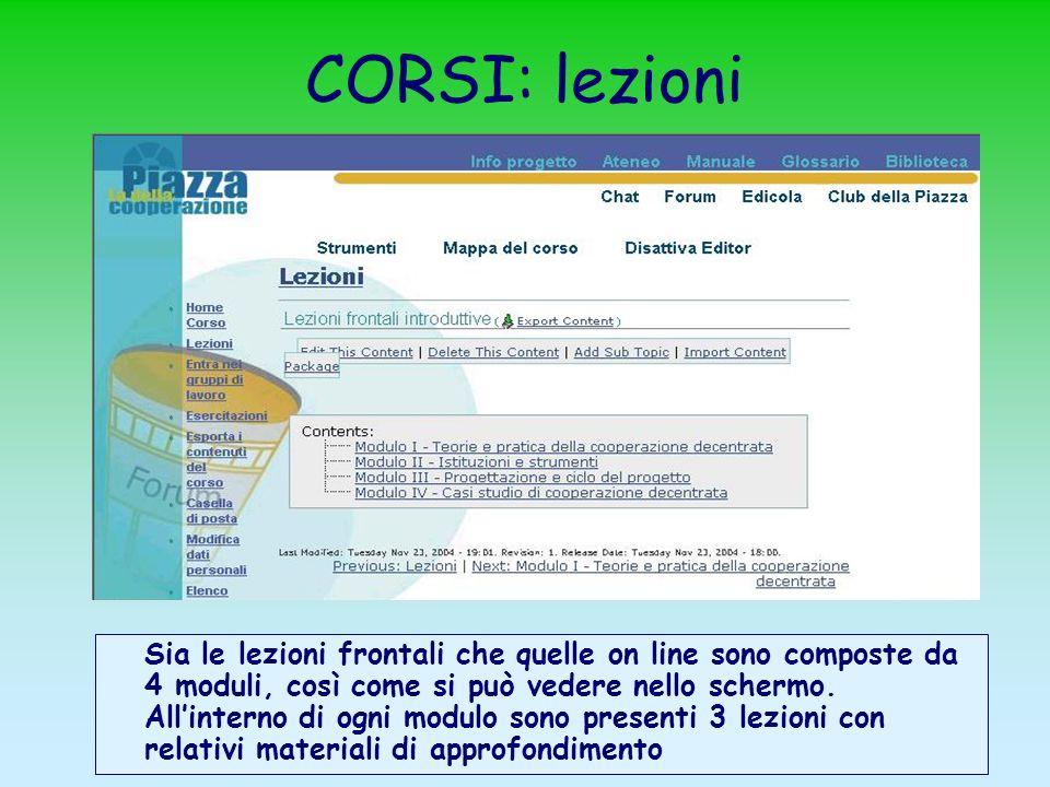 CORSI: lezioni Sia le lezioni frontali che quelle on line sono composte da 4 moduli, così come si può vedere nello schermo. Allinterno di ogni modulo