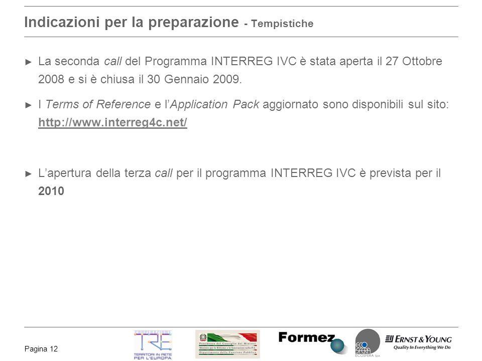 Pagina 12 Indicazioni per la preparazione - Tempistiche La seconda call del Programma INTERREG IVC è stata aperta il 27 Ottobre 2008 e si è chiusa il 30 Gennaio 2009.