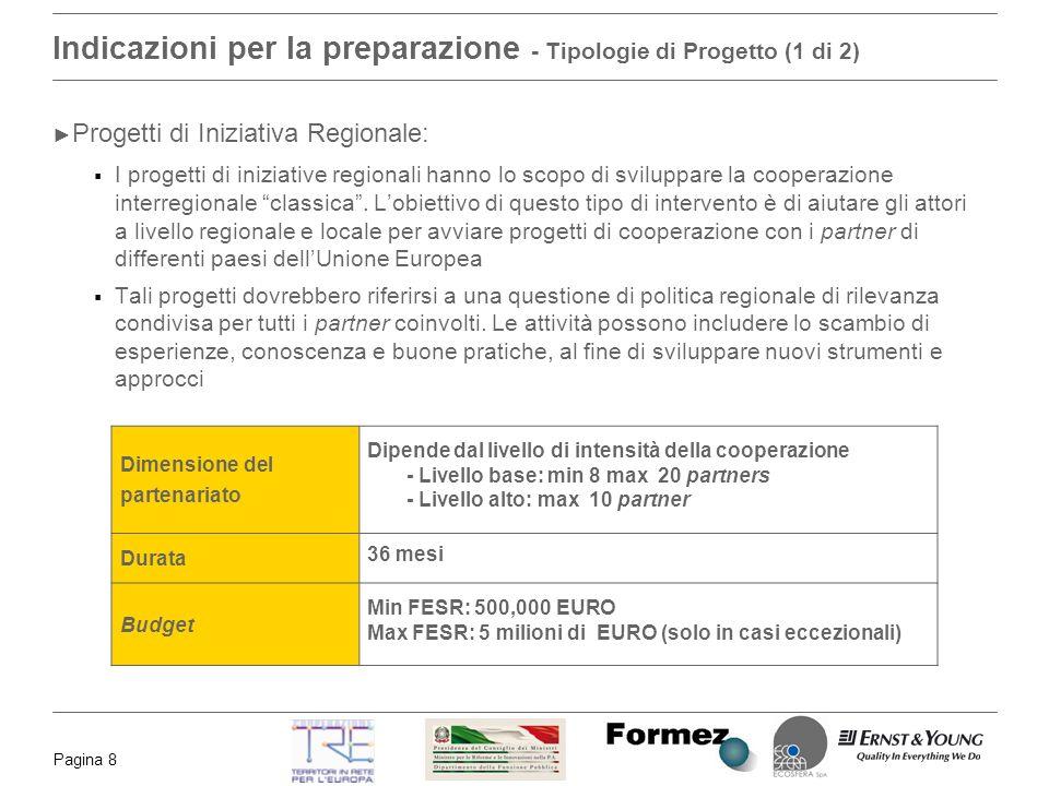 Pagina 8 Indicazioni per la preparazione - Tipologie di Progetto (1 di 2) Progetti di Iniziativa Regionale: I progetti di iniziative regionali hanno lo scopo di sviluppare la cooperazione interregionale classica.