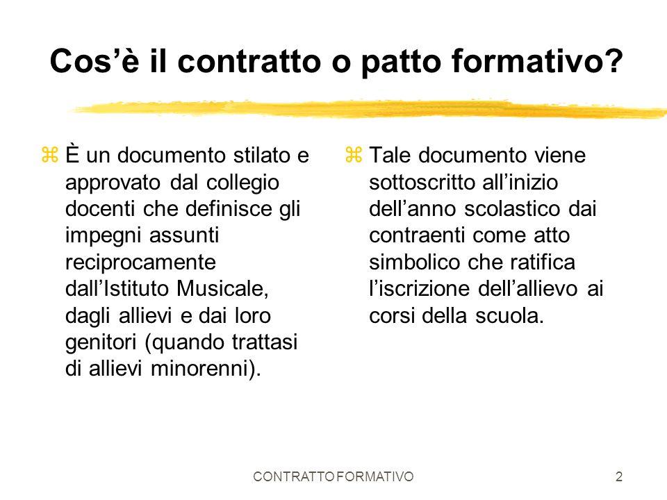 CONTRATTO FORMATIVO2 Cosè il contratto o patto formativo? zÈ un documento stilato e approvato dal collegio docenti che definisce gli impegni assunti r