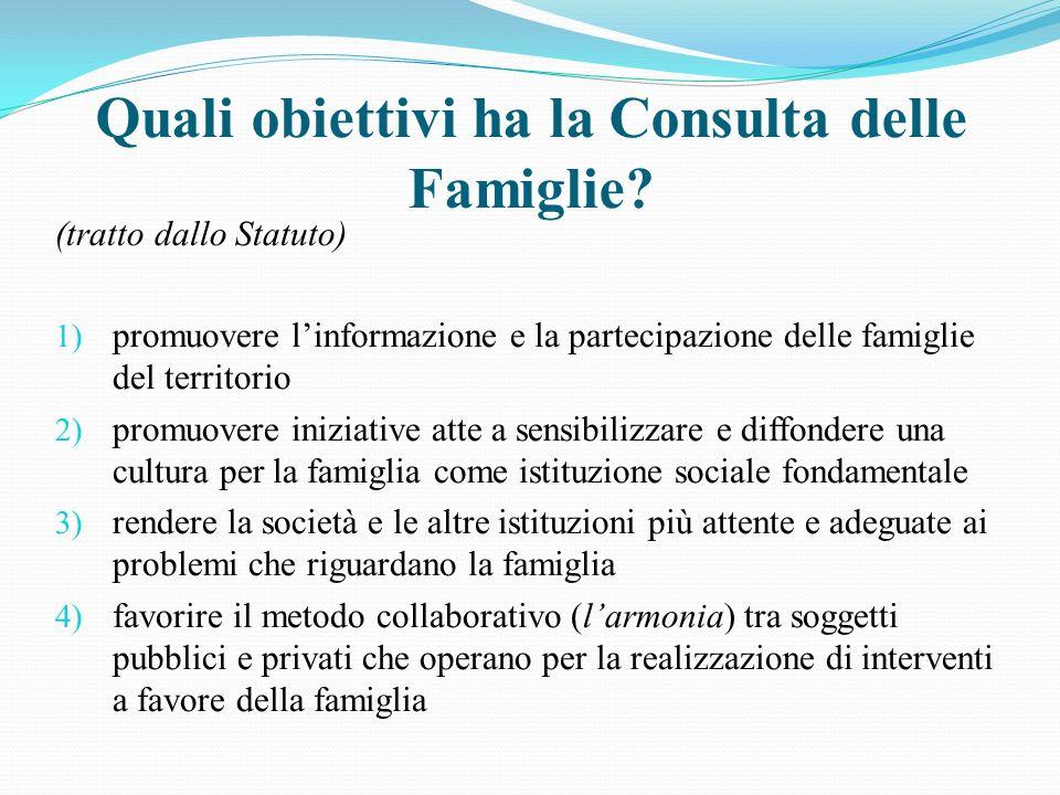 Quali obiettivi ha la Consulta delle Famiglie.