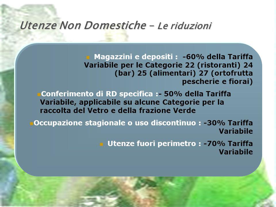 Utenze Non Domestiche – Le riduzioni Magazzini e depositi : -60% della Tariffa Variabile per le Categorie 22 (ristoranti) 24 (bar) 25 (alimentari) 27 (ortofrutta pescherie e fiorai) Conferimento di RD specifica :- 50% della Tariffa Variabile, applicabile su alcune Categorie per la raccolta del Vetro e della frazione Verde Occupazione stagionale o uso discontinuo : -30% Tariffa Variabile Utenze fuori perimetro : -70% Tariffa Variabile