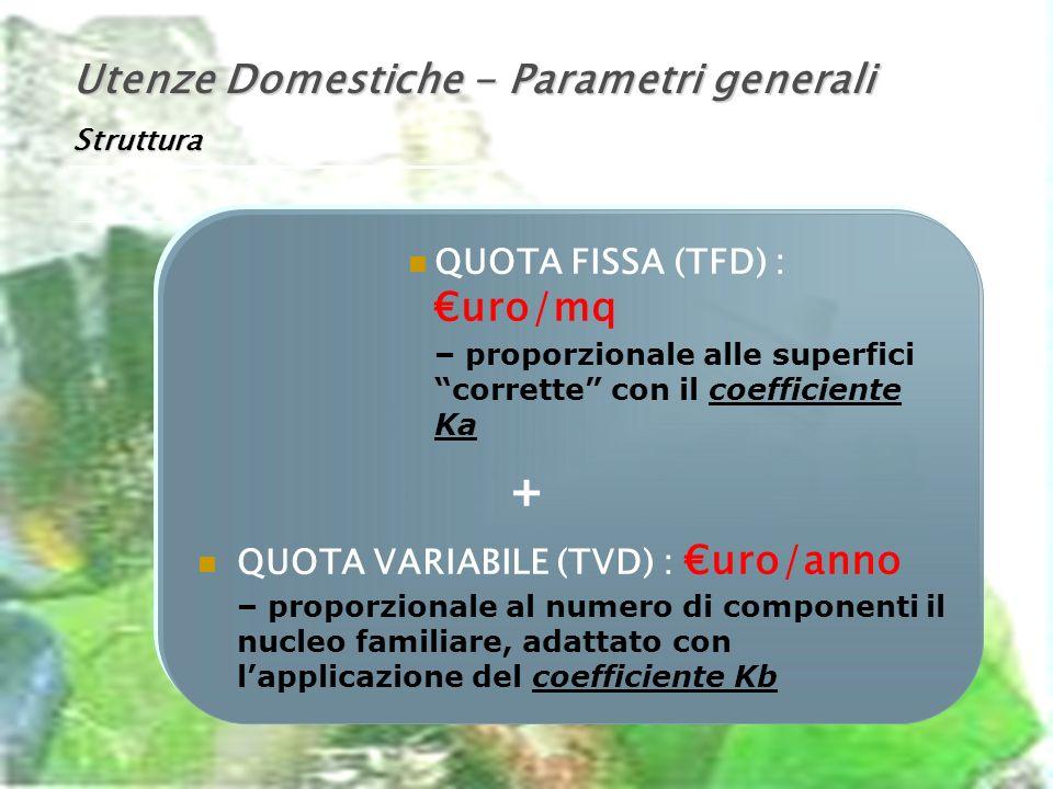 Utenze Domestiche - Parametri generali Struttura QUOTA FISSA (TFD) : uro/mq – proporzionale alle superfici corrette con il coefficiente Ka + QUOTA VARIABILE (TVD) : uro/anno – proporzionale al numero di componenti il nucleo familiare, adattato con lapplicazione del coefficiente Kb