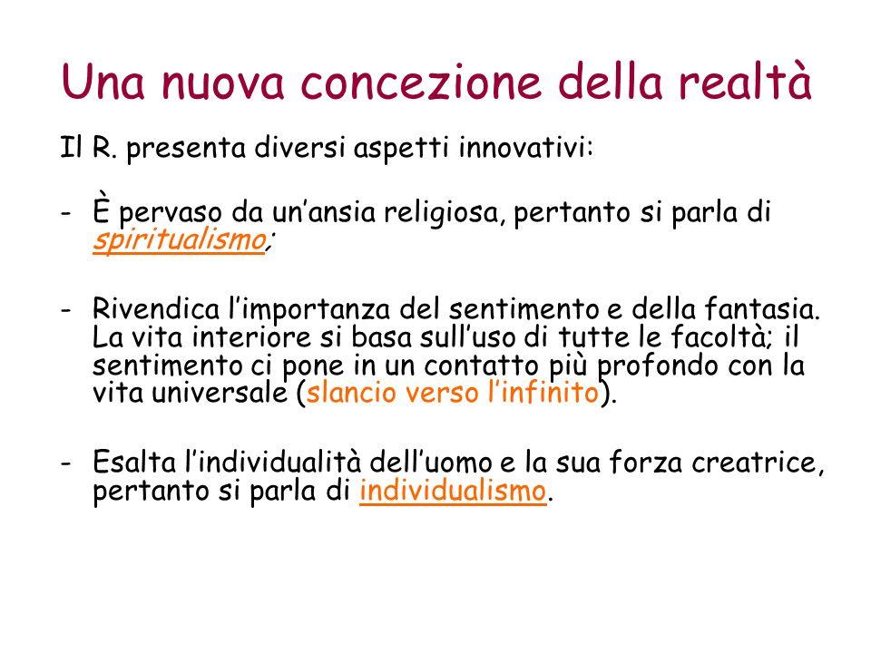 Una nuova concezione della realtà Il R. presenta diversi aspetti innovativi: -È pervaso da unansia religiosa, pertanto si parla di spiritualismo; -Riv