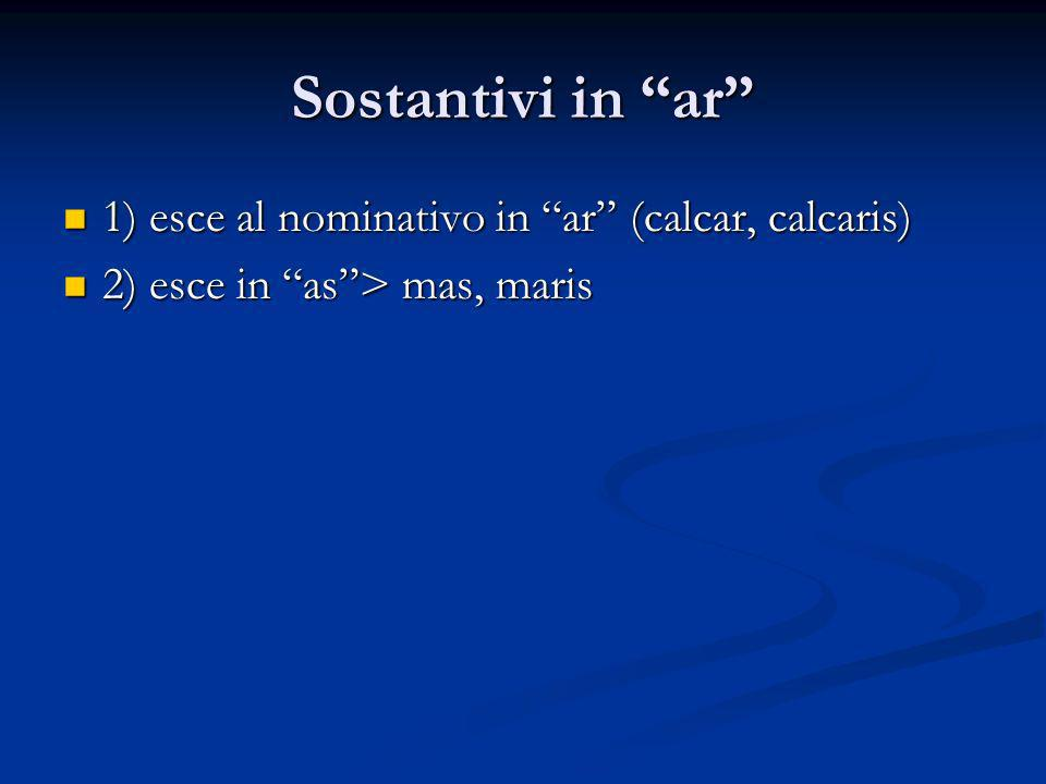 Sostantivi in ar 1) esce al nominativo in ar (calcar, calcaris) 1) esce al nominativo in ar (calcar, calcaris) 2) esce in as> mas, maris 2) esce in as> mas, maris