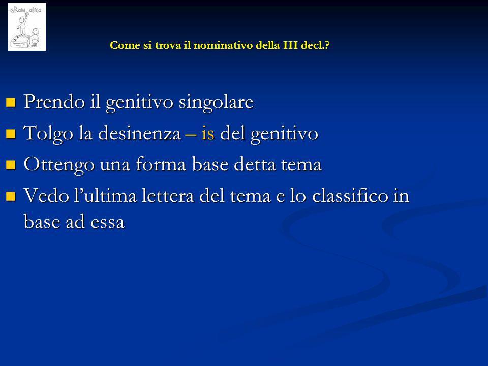 Temi in velare (c,g) Temi in velare (c,g) Nominativo in X = c,g + s Esempio: 1) regis > reg > reg + s > rex 2) ducis > duc > duc + s > dux