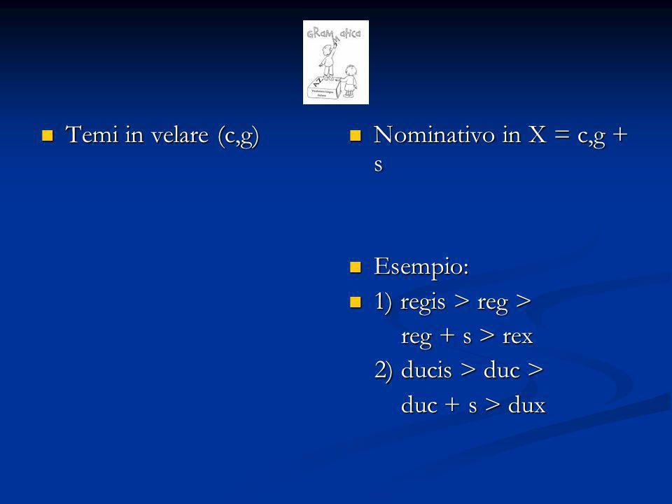 Temi in labiale (p,b) Temi in labiale (p,b) Nominativo in ps o bs = b o p + s Esempio: 1) opis> op > ops + s > ops 2) plebis > pleb > pleb + s > plebs