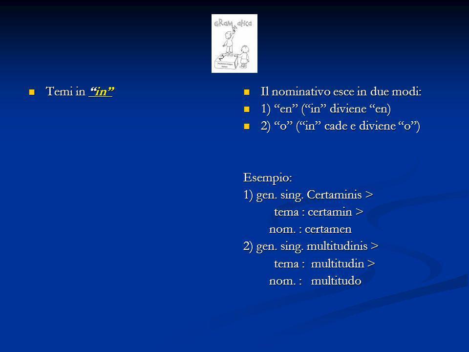 Temi in or Temi in or Il nominativo esce in 3 modi: 1) or (maschile e femminile) 2) os (maschile e femminile) 3) us (neutro) Esempio: 1) Honor, honoris 2) Flos, floris 3) corpus, corporis