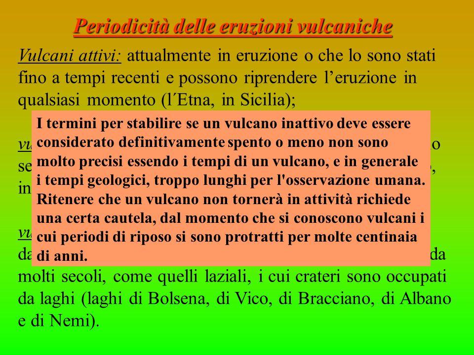 Periodicità delle eruzioni vulcaniche Vulcani attivi: attualmente in eruzione o che lo sono stati fino a tempi recenti e possono riprendere leruzione