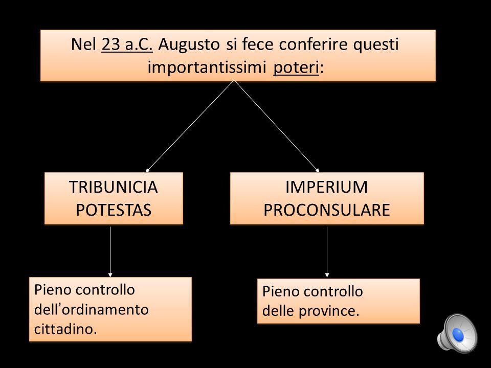 Nel 23 a.C. Augusto si fece conferire questi importantissimi poteri: Nel 23 a.C. Augusto si fece conferire questi importantissimi poteri: TRIBUNICIA P
