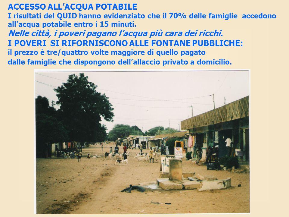 ACCESSO ALLACQUA POTABILE I risultati del QUID hanno evidenziato che il 70% delle famiglie accedono allacqua potabile entro i 15 minuti. Nelle città,