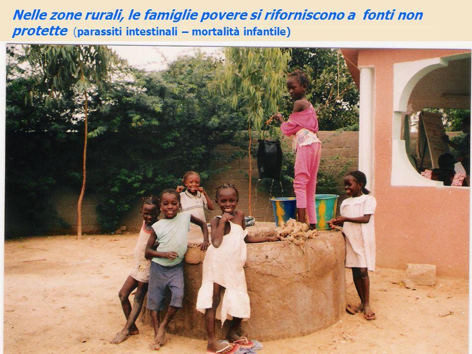 Nelle zone rurali, le famiglie povere si riforniscono a fonti non protette (parassiti intestinali – mortalità infantile)