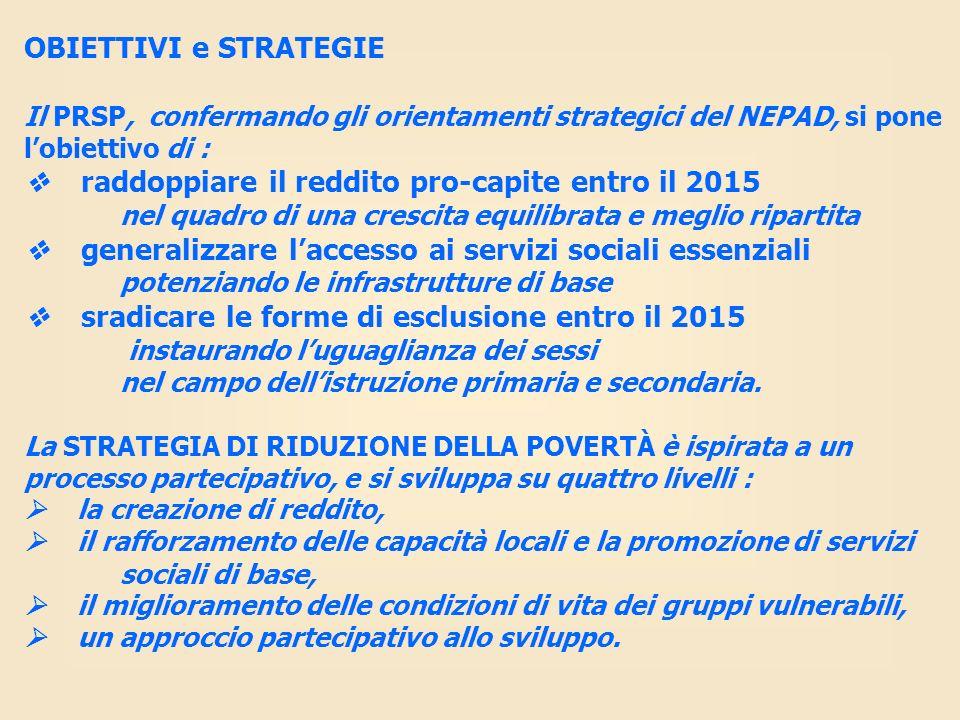 OBIETTIVI e STRATEGIE Il PRSP, confermando gli orientamenti strategici del NEPAD, si pone lobiettivo di : raddoppiare il reddito pro-capite entro il 2