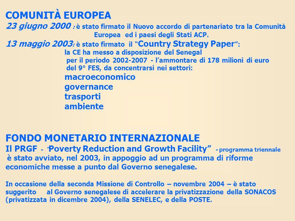 COMUNITÀ EUROPEA 23 giugno 2000 : è stato firmato il Nuovo accordo di partenariato tra la Comunità Europea ed i paesi degli Stati ACP. 13 maggio 2003