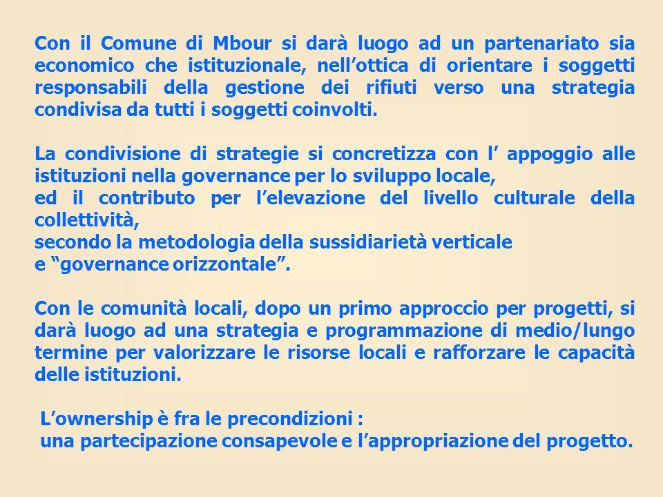 Con il Comune di Mbour si darà luogo ad un partenariato sia economico che istituzionale, nellottica di orientare i soggetti responsabili della gestion
