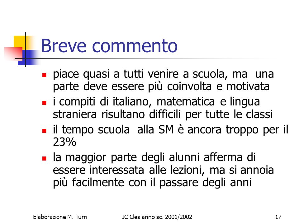 Elaborazione M.TurriIC Cles anno sc.