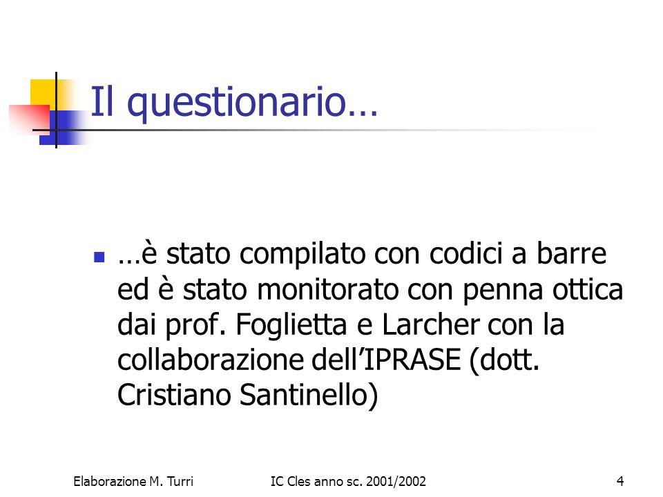 Elaborazione M. TurriIC Cles anno sc. 2001/20025 1. Ti piace venire a scuola?